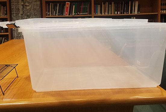 Clear plastic tub with lid