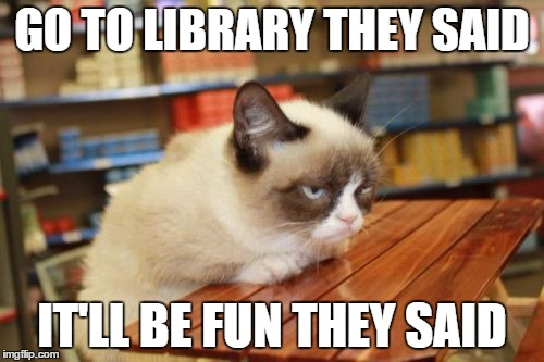 go to the library said grumpy cat