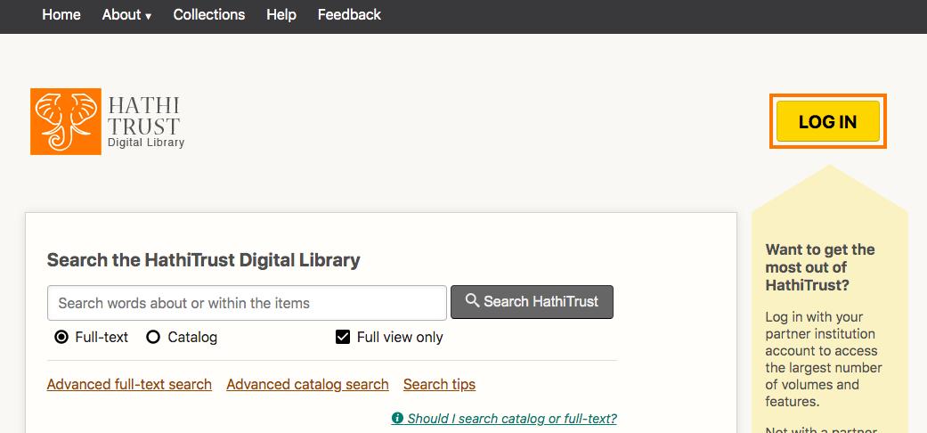 HathiTrust login page