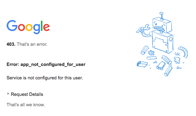 Google error - wrong gmail account