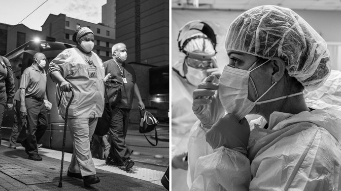 Health-care workers at the Texas Medical Center (Callaghan O'Hare / REUTERS); preparing to go into the COVID-19 intensive-care unit at the United Memorial Medical Center (Go Nakamura / Getty)