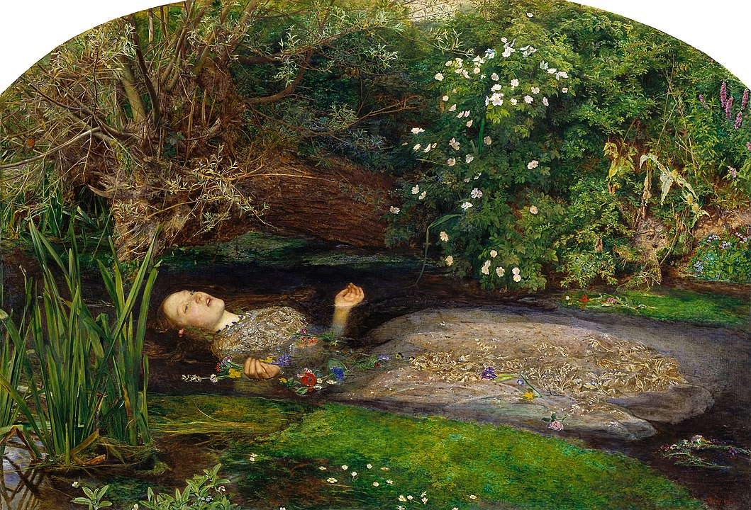Ophelia by John Everett Millais. Ophelia from Shakespeare's Hamlet is depicted floating in a stream in this Pre-Raphaelite Painting