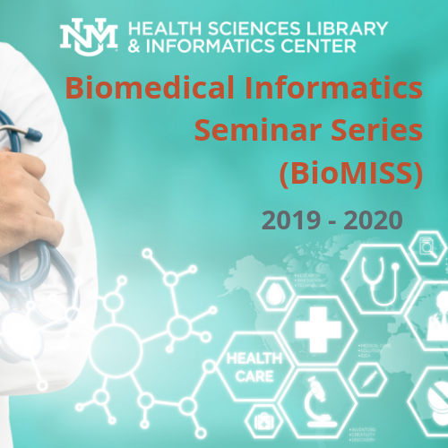 Image of icon for the 2019-2020 Biomedical Informatics Seminar Series, inclusive of the HSLIC logo