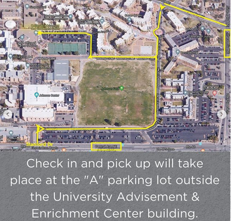 "Image of map to the University Advisement & Enrichment Center parking lot. Directions state: Check in and pick up will take place at the ""A"" parking lot outside the University Advisement & Enrichment Center parking lot."