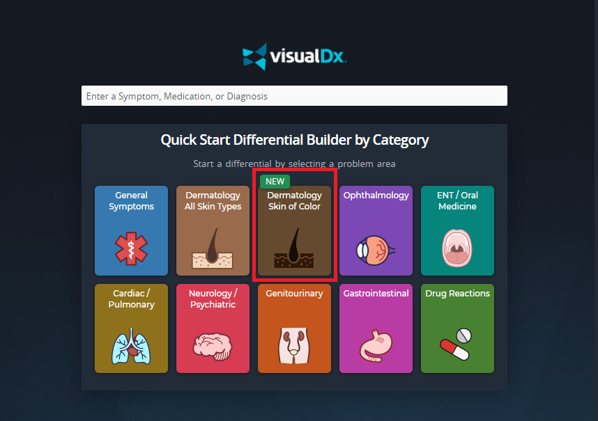 "Homepage of VisualDx, showing a list titled ""Quick Start Differential Builder by Category."" One of the options is ""Dermatology Skin of Color."""