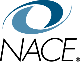 The blue and white logo for NACE, the National Association of Colleges and Employers