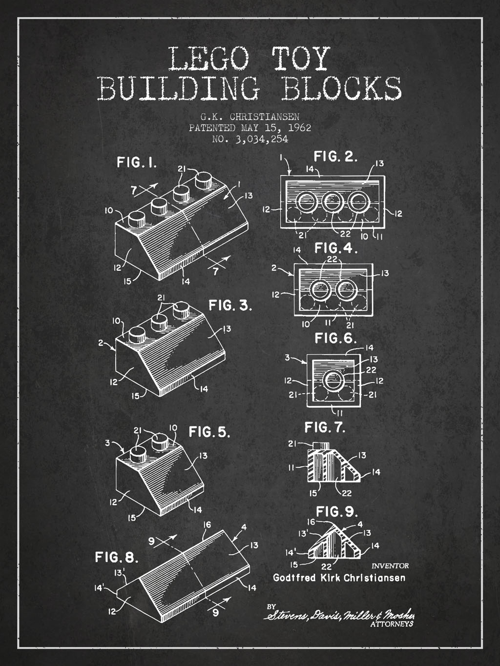1962 Lego Toy Building Blocks Patent by www.patentswallart.com, https://www.flickr.com/photos/patentswallart/16881724632