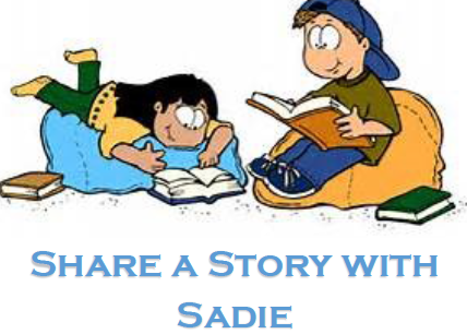 Share a Story with Sadie text and graphic of children reading