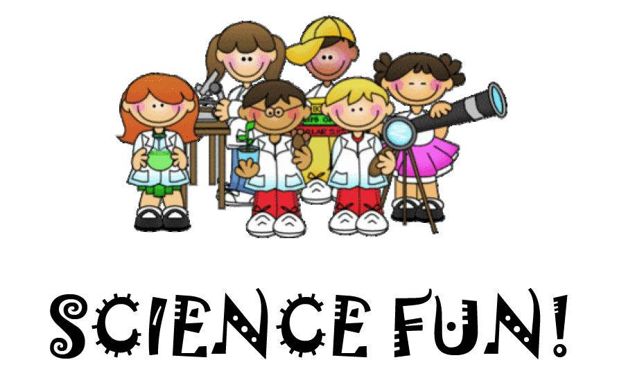 Science Fun text with science-themed children