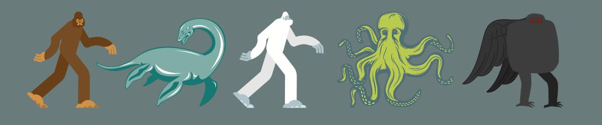 bigfoot, loch ness monster, yeti, kraken, mothman