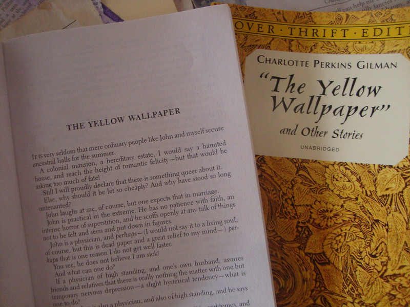 "Cover and first page of ""The Yellow Wallpaper"" and other stories by Charlotte Perkins Gilman."