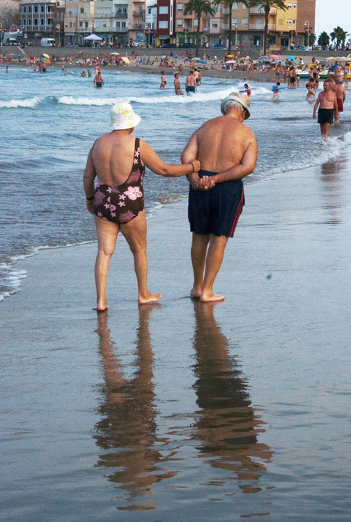 Elderly white couple at the beach