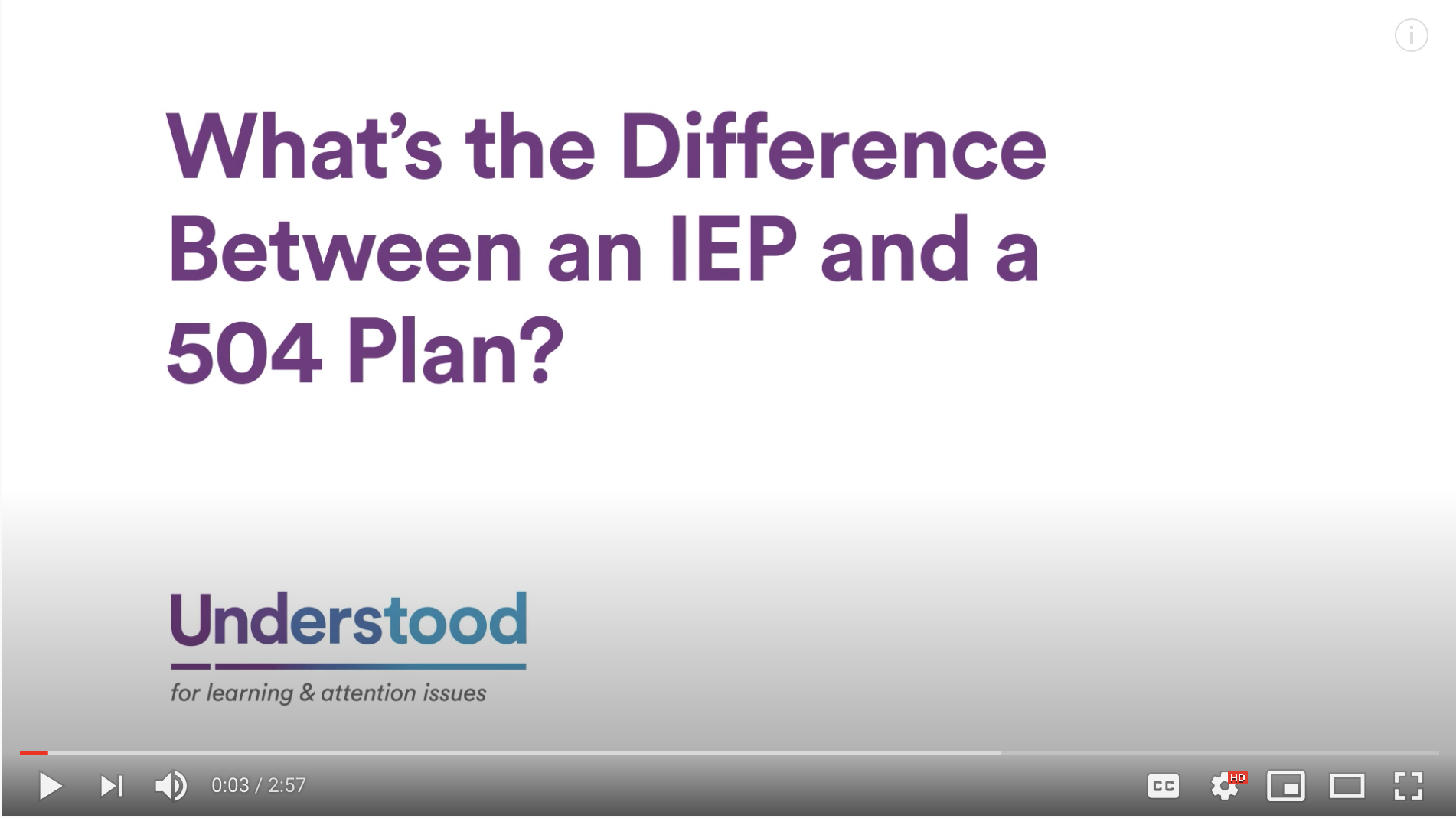 Screenshot for video What's the Difference Between an IEP and a 504 Plan?