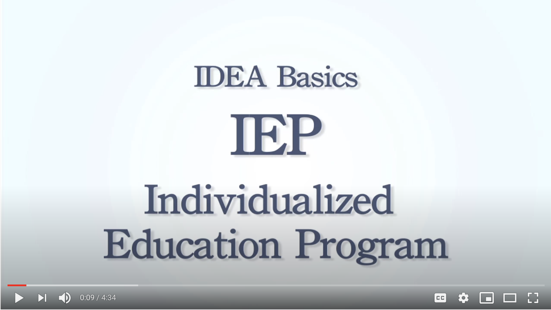 Screenshot of the video IDEA Basics: IEP Individualized Education Program.