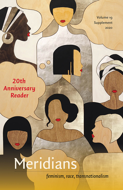 Decorative image: text that reads 20th anniversary reader with black, brown, tan, and white femme person images, some wearing hijab or stylish head wrap or fashion hairstyle