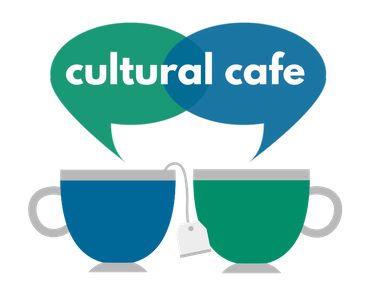 Cultural Cafe logo of two coffee cups with speech bubles