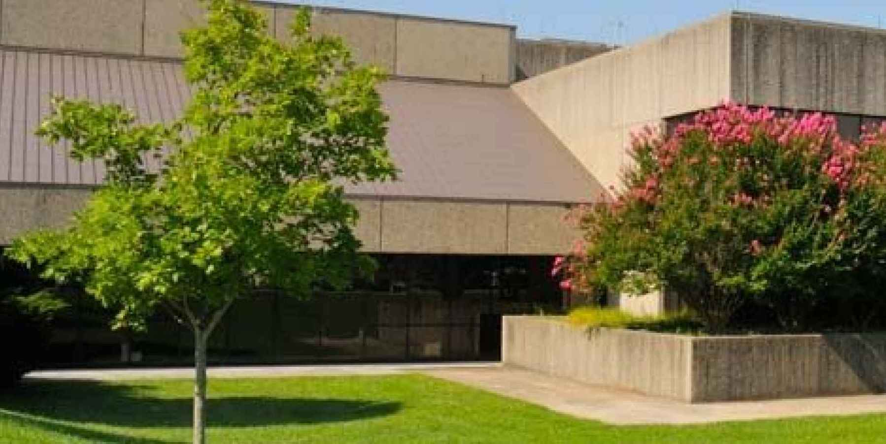 Image shows an outside view of the VetMed Library within the College of Veterinary Medicine complex.
