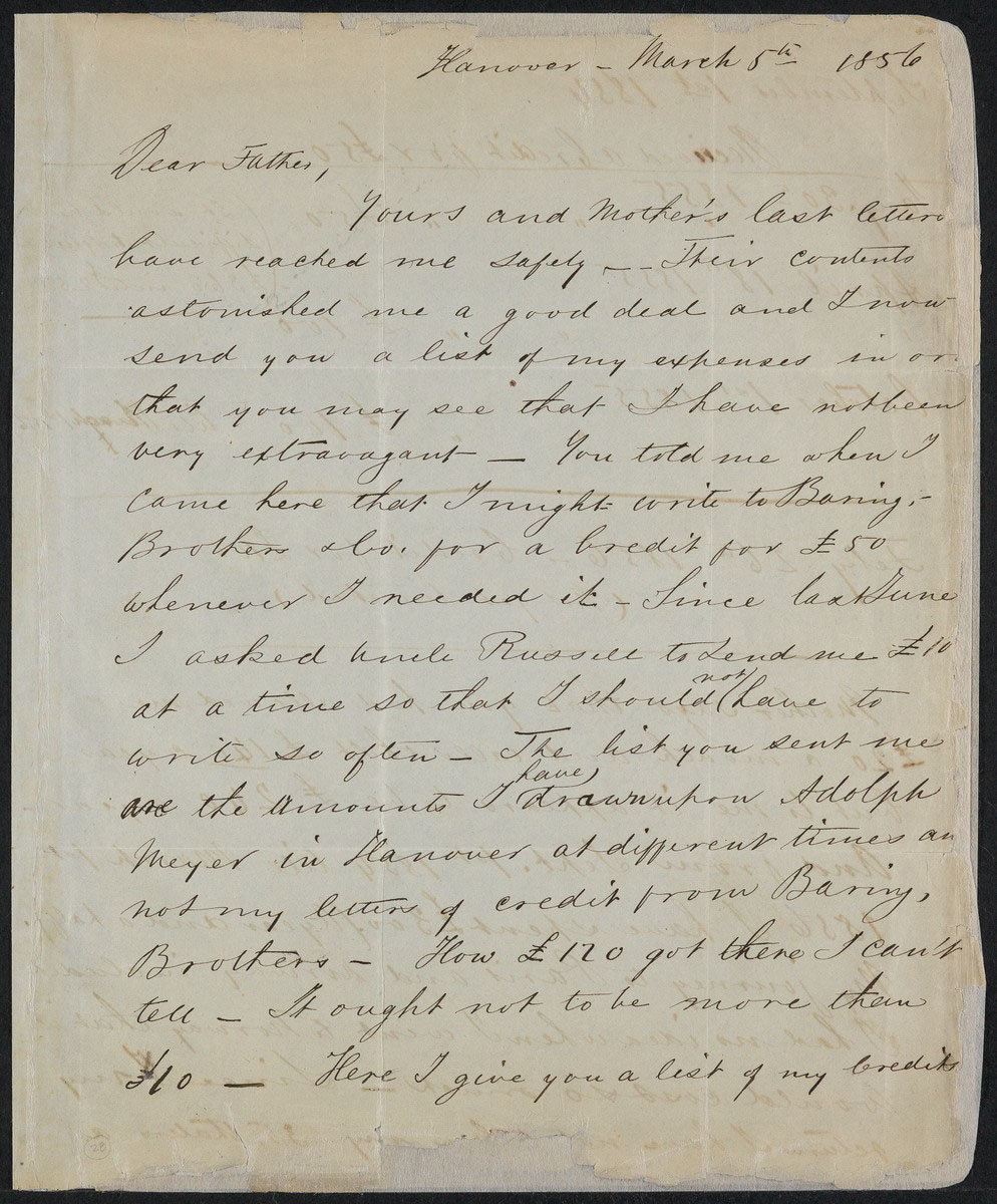Letter from Robert Gould Shaw to his father