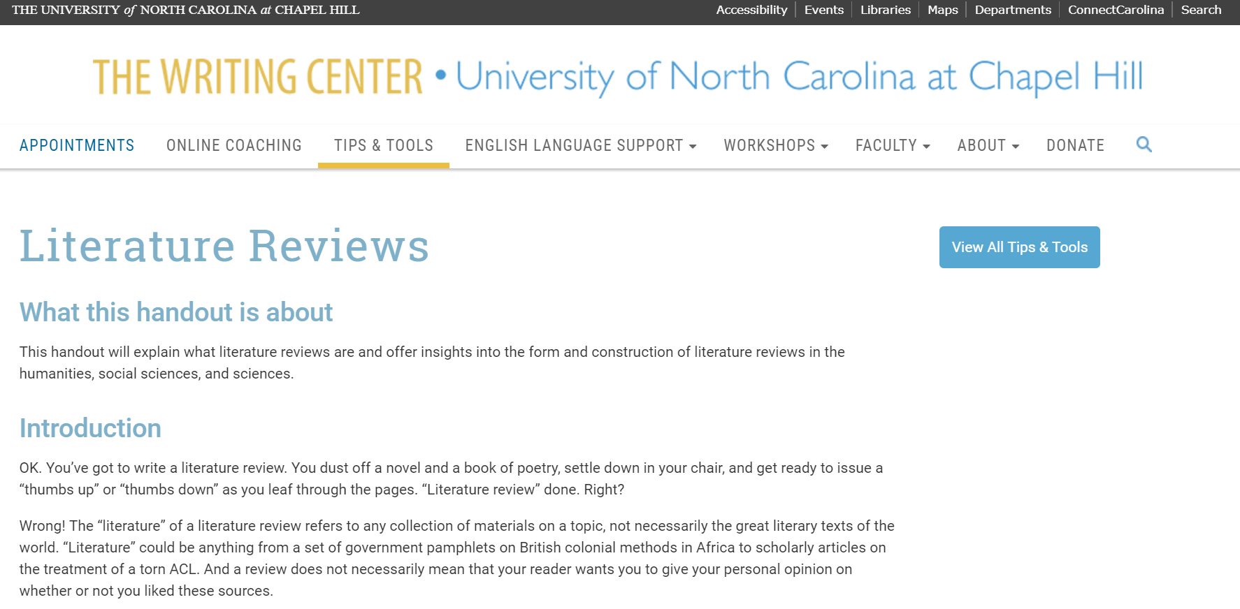 Image linking to UNC writing center.