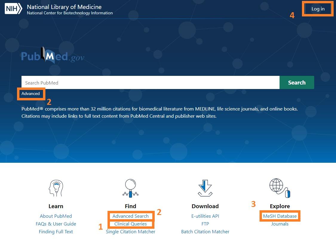 PubMed homepage