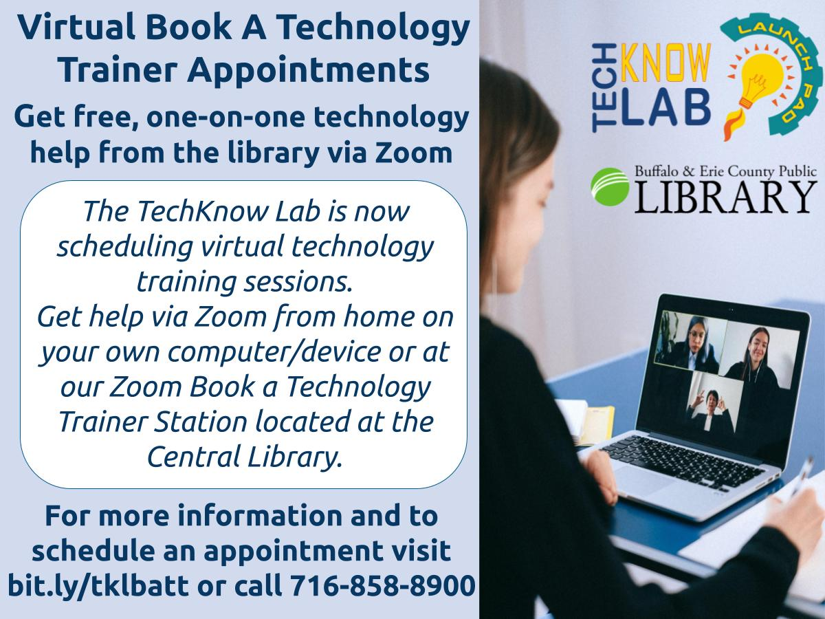 Book a Technology Trainer with the TechKnow Lab (Virtual Program via Zoom)
