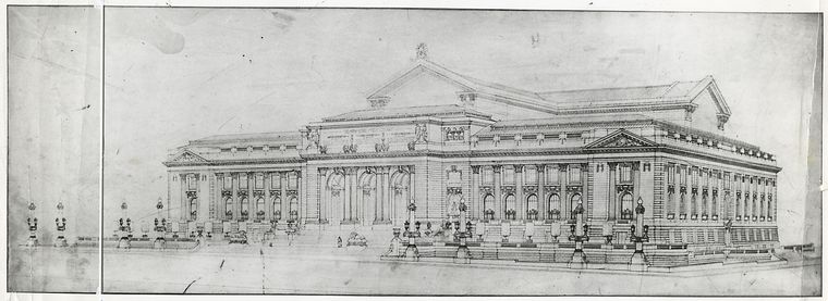Drawing of the library, showing the Fifth Avenue and Forty-second Street facades
