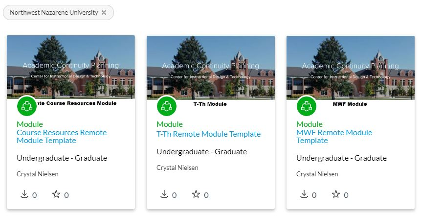 Module templates as seen in Canvas Commons