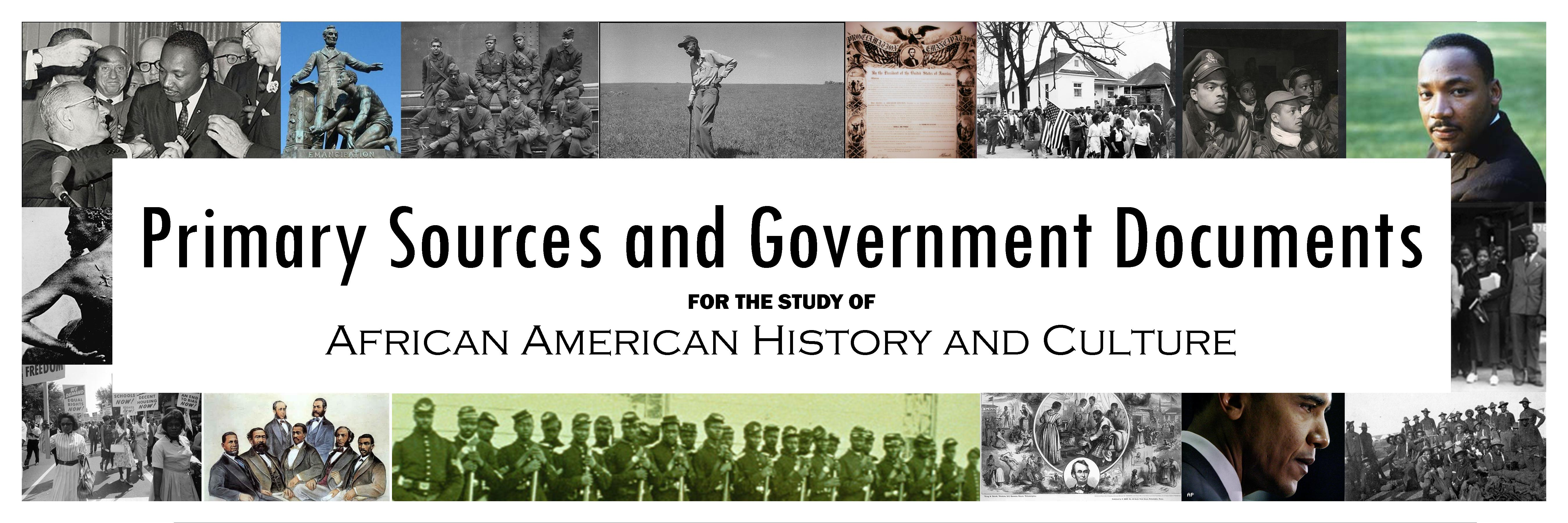 Primary Sources and Government Documents for the Study of African American History and Culture