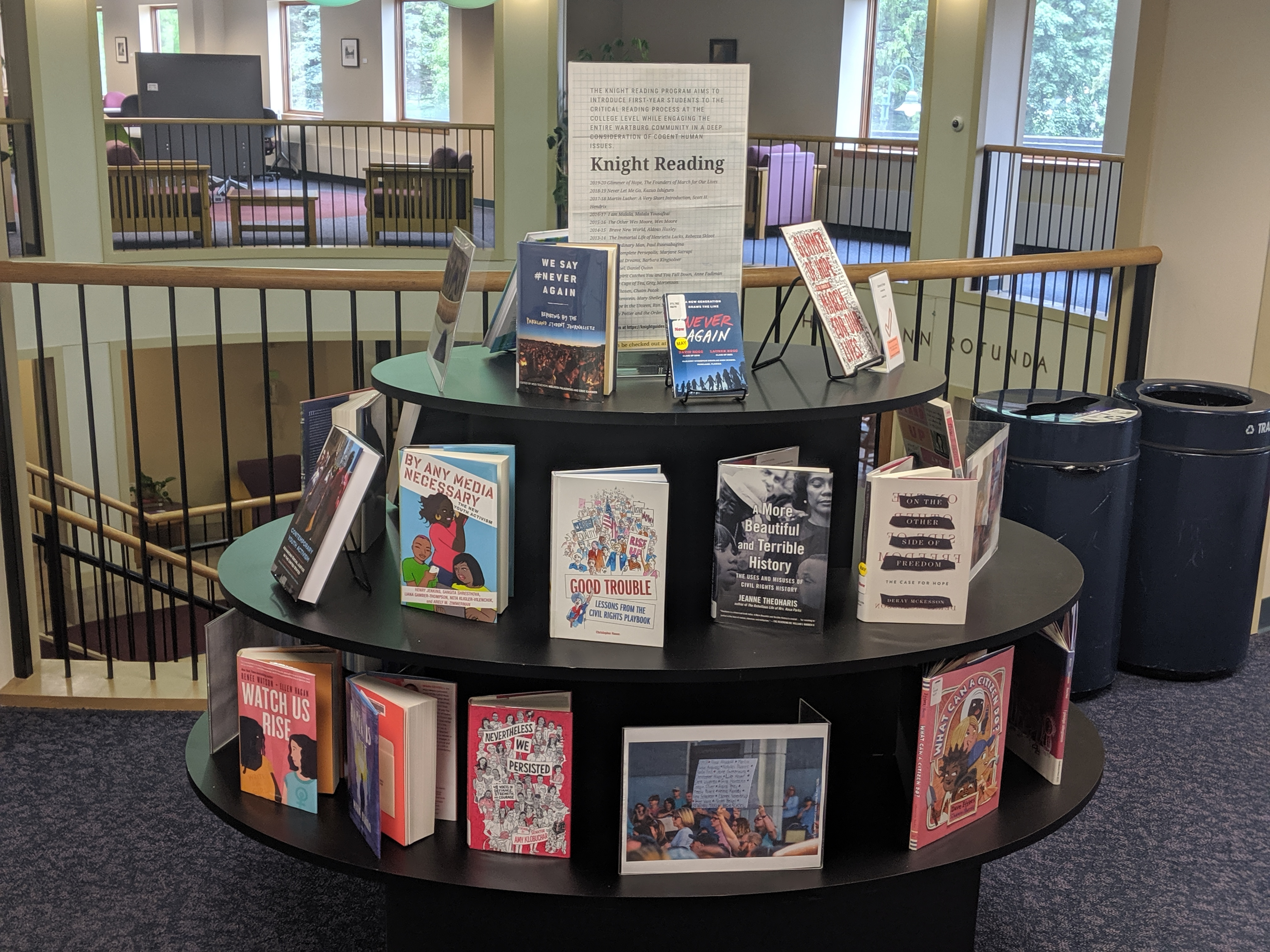 image is of Glimmer of Hope book display at Vogel Library