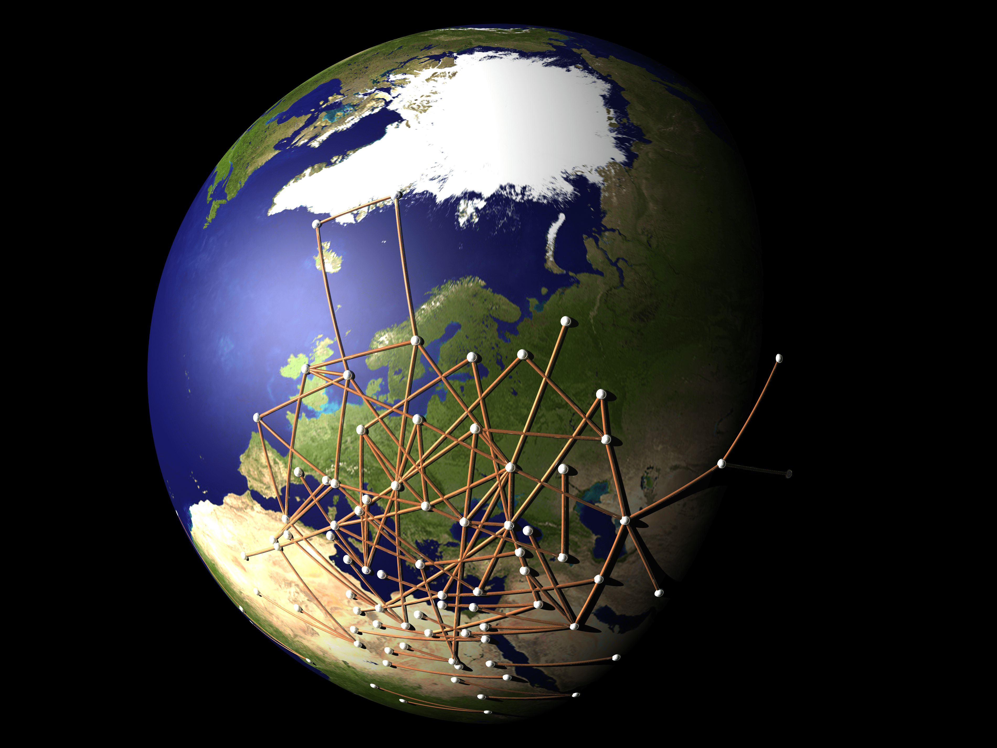 image of earth with pins and string showing network