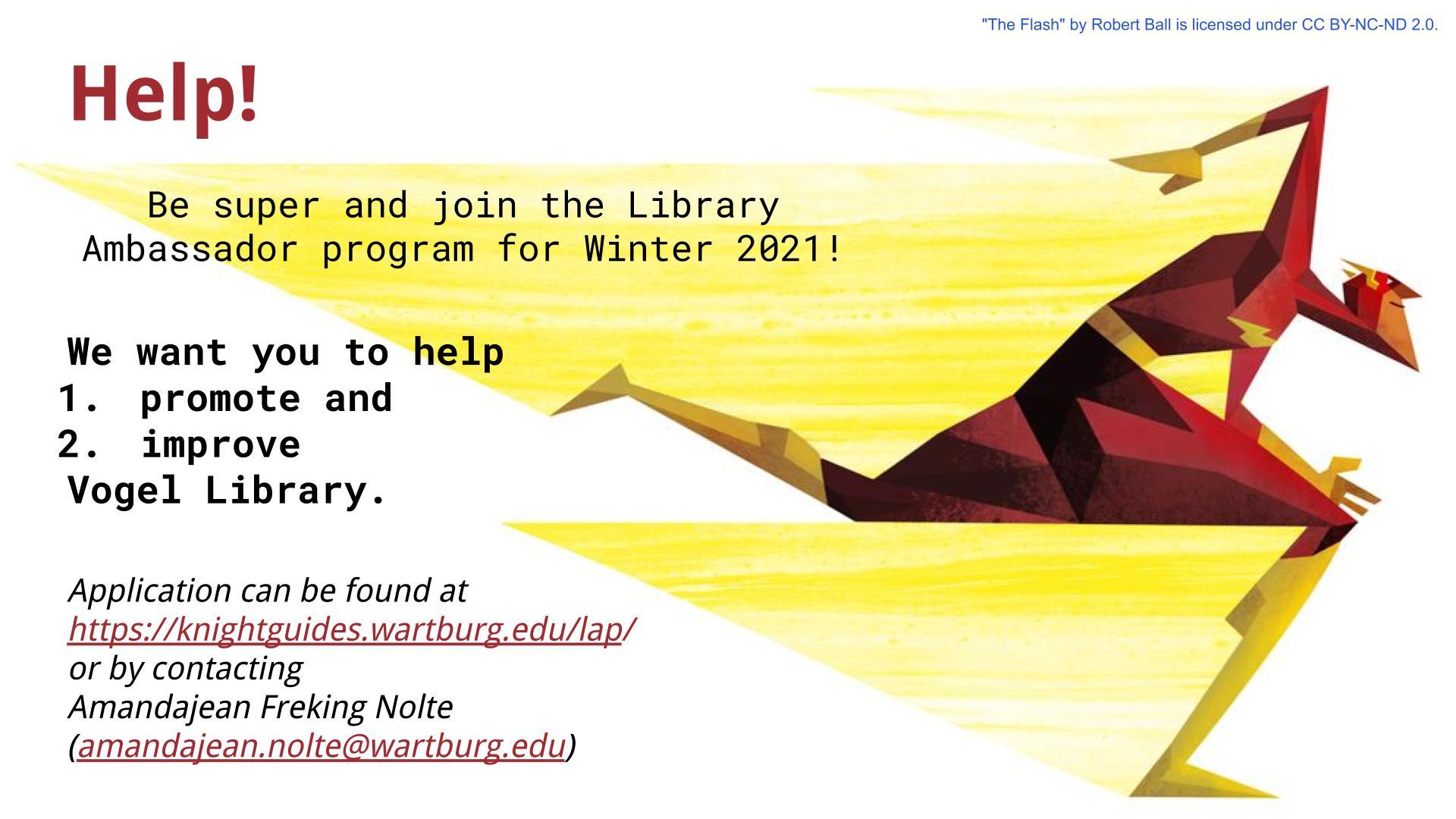 advertisement for Library Ambassador application