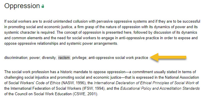 screenshot of oppression entry in the Encyclopedia of Social Work