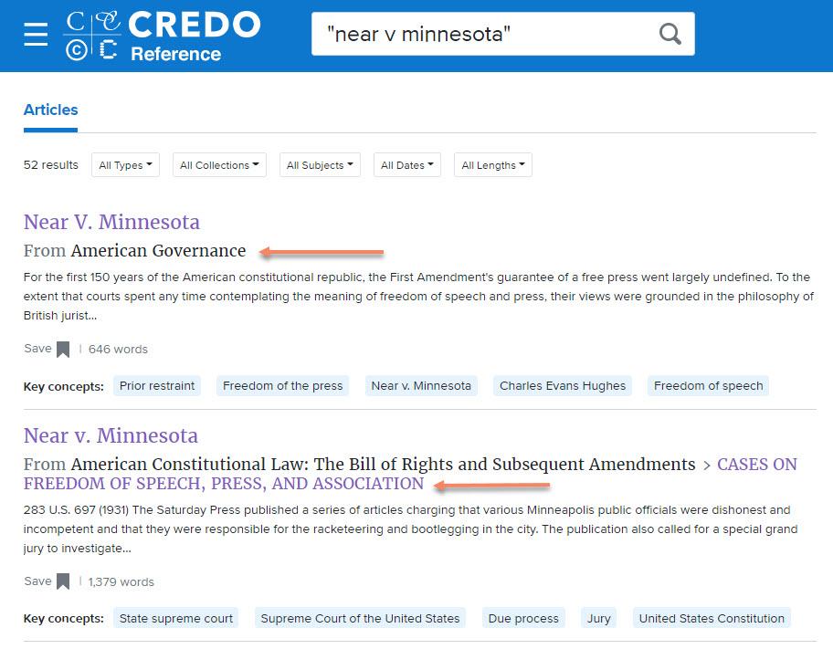 screenshot of a Near v. Minnesota search in Credo