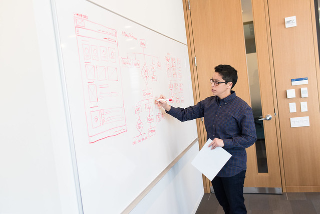 image is of an employee drawing a flow chart on a whiteboard