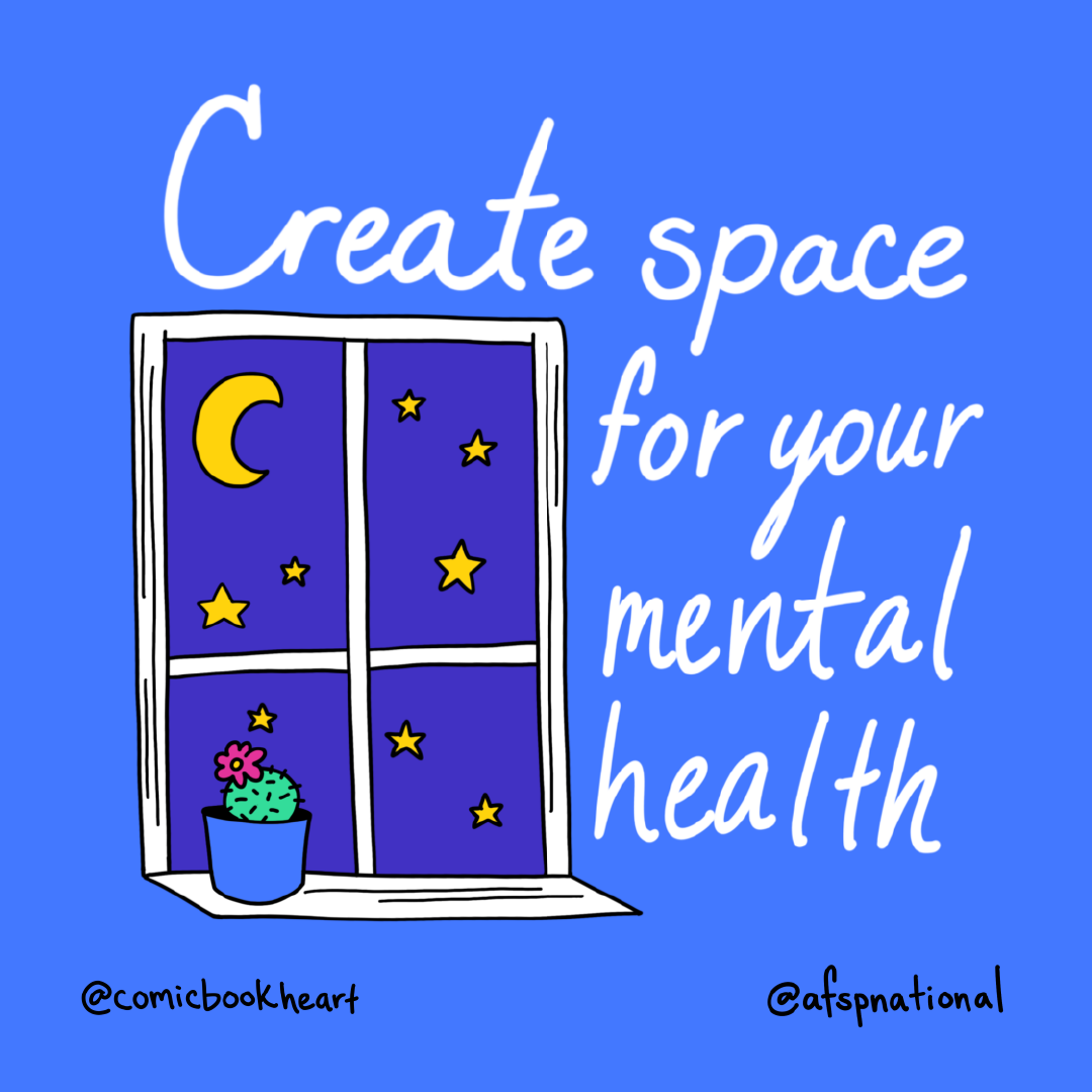 """Window with stars outside and a cactus inside on window sill. """"Create Space for your mental health"""""""