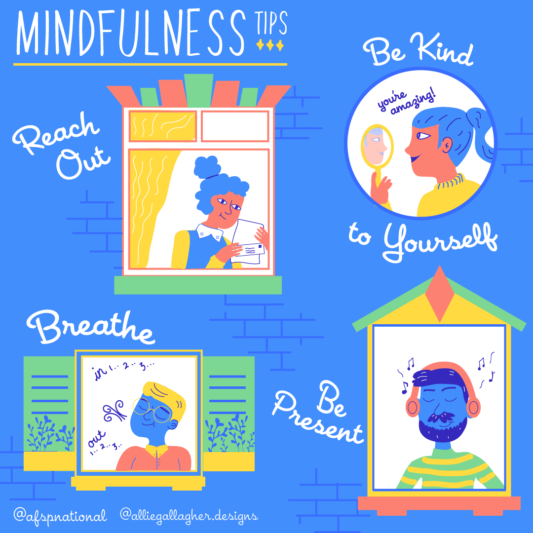 Mindfulness Tips, Person breathing, Person listening to music, Person looking in mirror, Person reading a letter