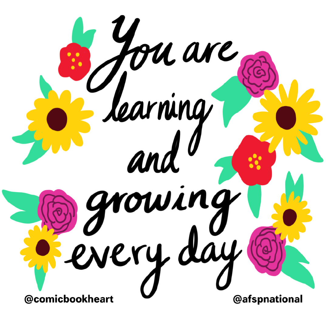 "flowers image with quote ""You are learning and growing everyday"""