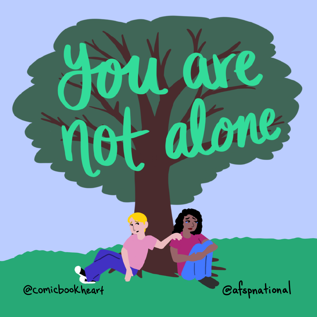 """Two people sitting under tree talking. """"You are not alone."""""""