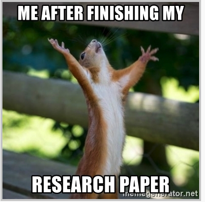 image of squirrel celebrating: Me after finishing my research paper