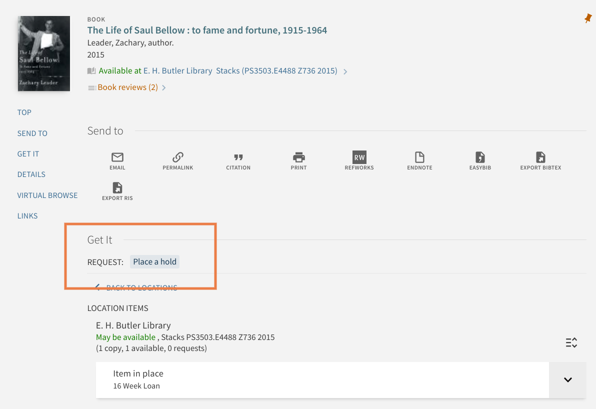 Image of the place a hold button in the library catalog