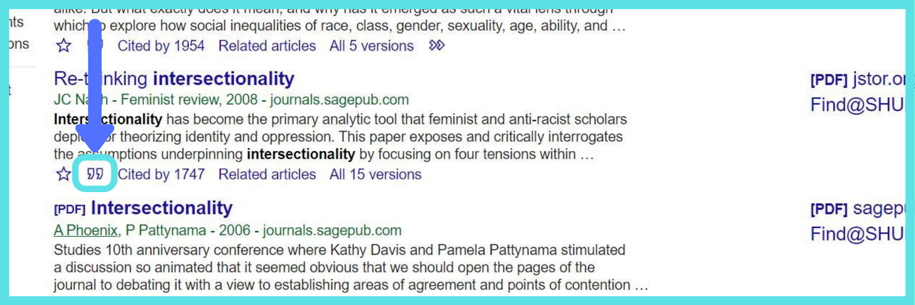 screenshot of a Google Scholar article indicating the quotation mark icon below which can be clicked to generate an automatic citation