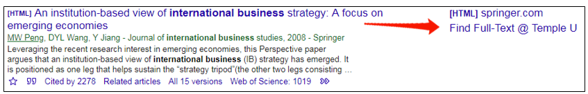 Screen clipping of a Google Scholar search result with Find Full-Text @ Temple link