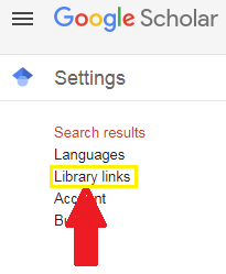 Screen clipping of Google Scholar settings menu