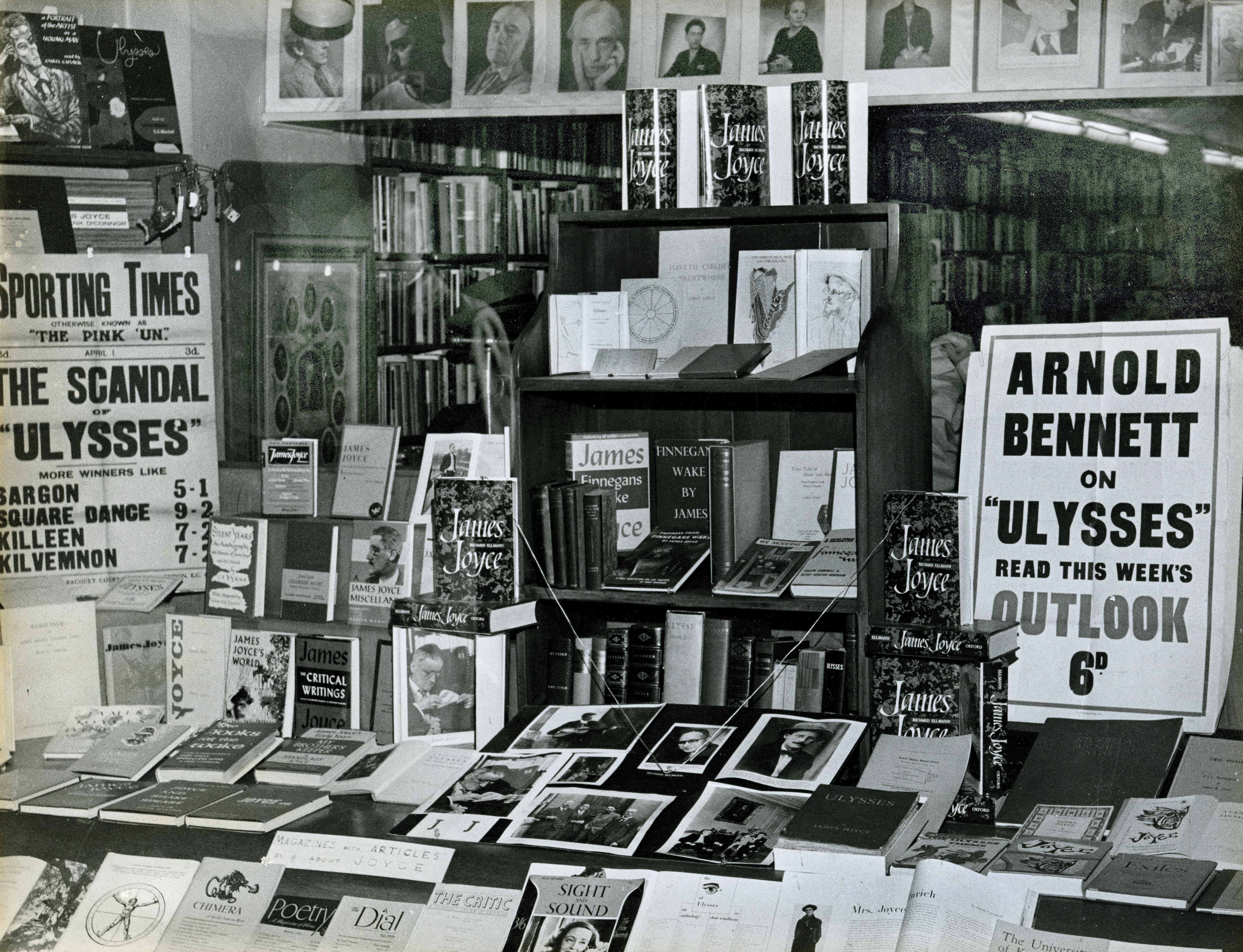 B&W photograph. Gotham Book Mart front window display of James Joyce related items, ca. 1959.