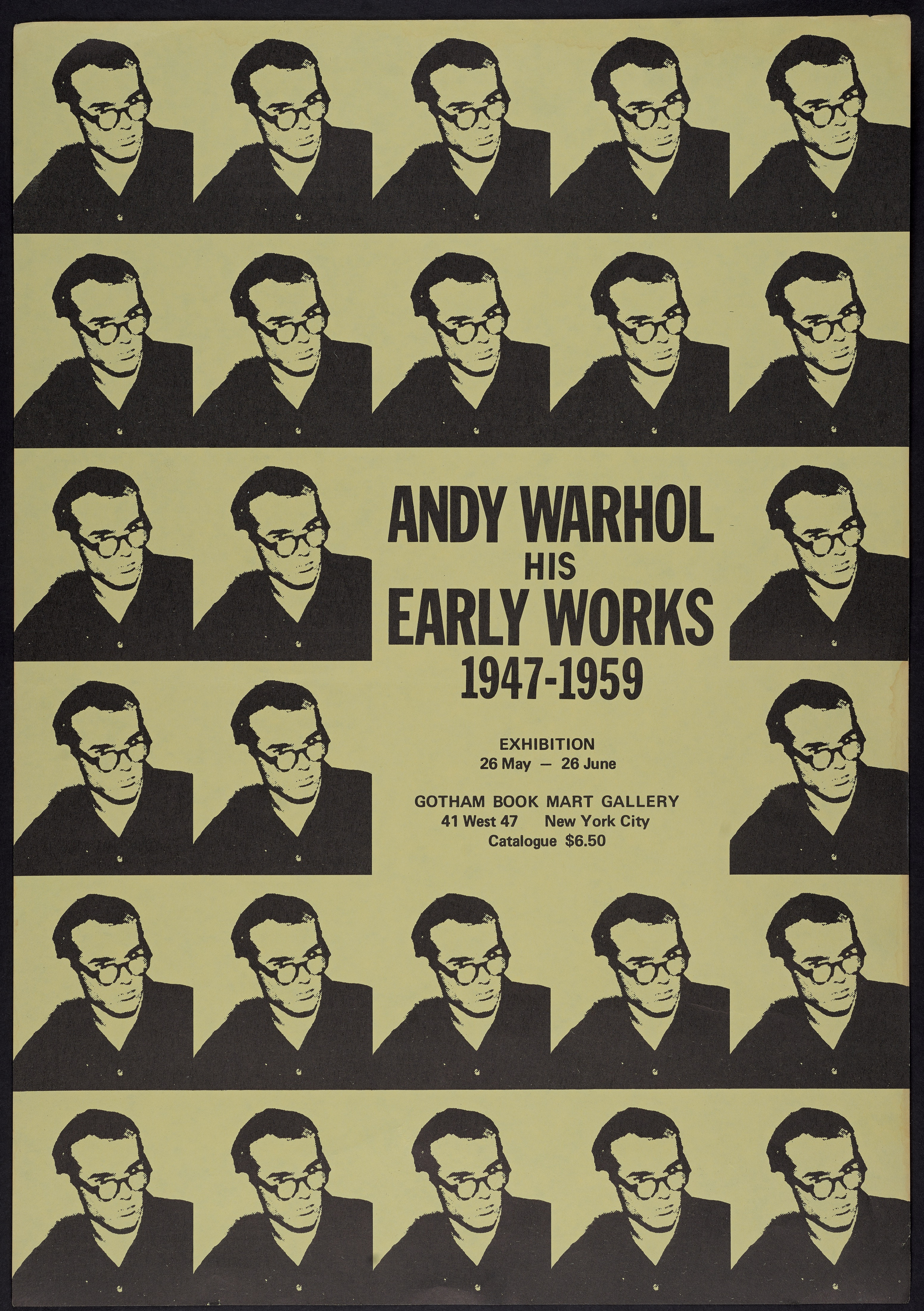 Andy Warhol His Early Works: 1947–1959. New York, Gotham Book Mart Gallery, 1971. Exhibition broadside.