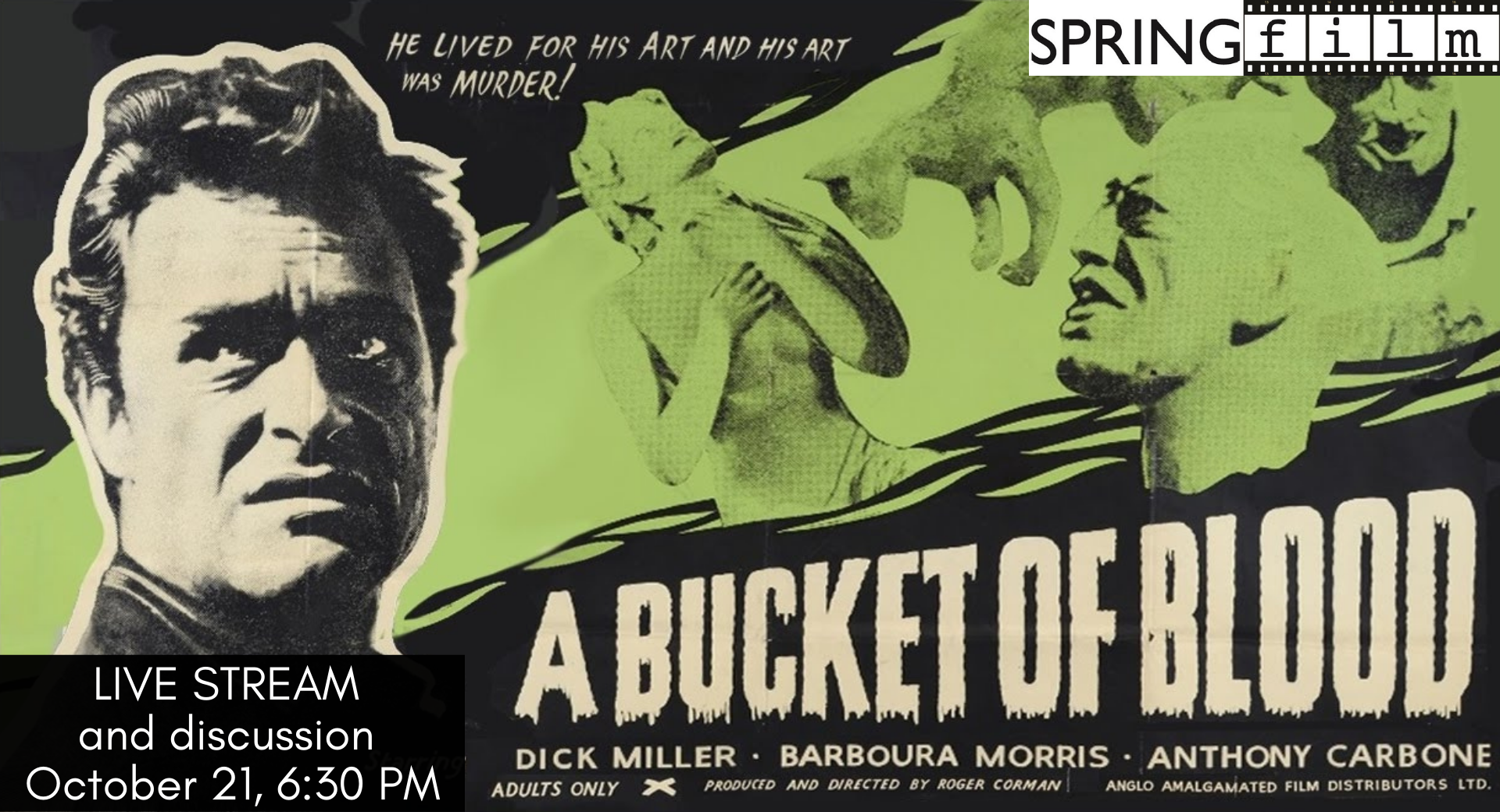 A1n original film poster for the movie 'A Bucket of Blood' with library information superimposed on top.