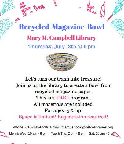 Recycled Magazine Bowl