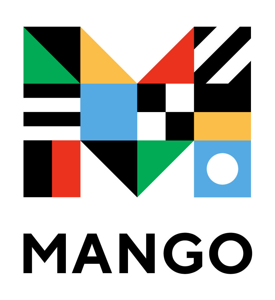 Mango Languages Logo: A capital letter M composed of nautical flags.