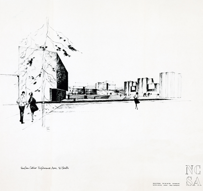 Concept sketch of the School of the Arts campus, including buildings and people walking on lawn. Includes designer's signature and NCSA logo.