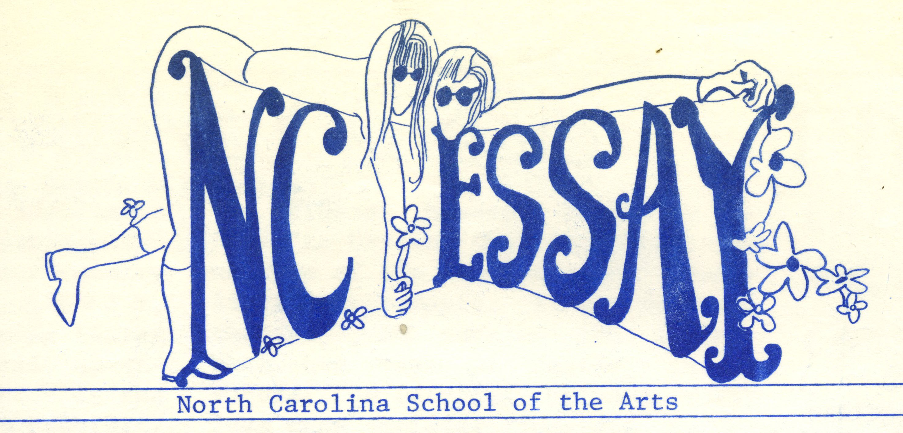 Logo reads N.C. Essay. Drawing of two people leaning over letters, with flowers around the edges. Text below reads North Carolina School of the Arts.